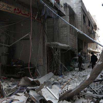 Ruiner i östra Ghouta efter bombningar.