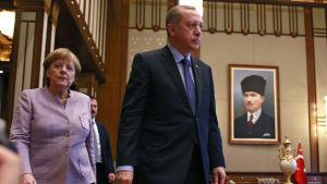 Förbundskansler Angela Merkel och Turkiets president Recep Tayyip Erdoğan möttes i Ankara 2.2.2017.