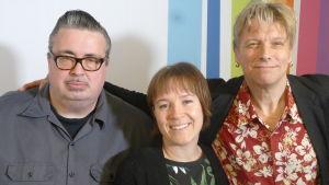 Pekka Laine, Sanna Pirkkalainen ja Jukka Orma Levylautakunnassa 7.5.2016