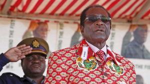 Mugabe under sin sista valkampanj i Zimbabwe juni 2008.