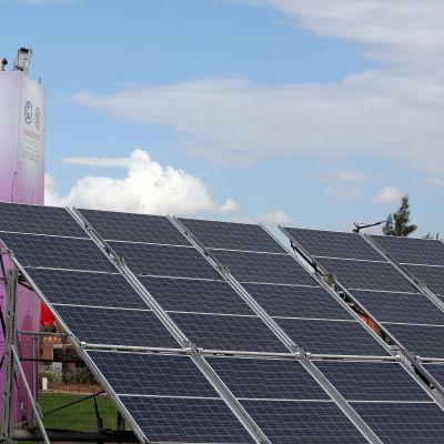 Solpaneler i Marrakech på taket till den byggnad där FN:s klimatkonferens COP22 hölls 7-18.9.2016