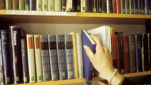 Salon kirjasto. Kirjaston asiakas valitsee luettavaa.
