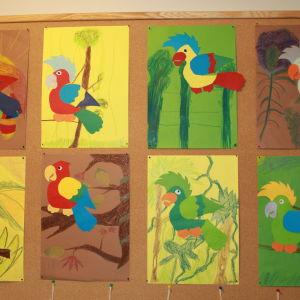 Koulun seinällä on oppilaiden tekemiä papukaijakuvia