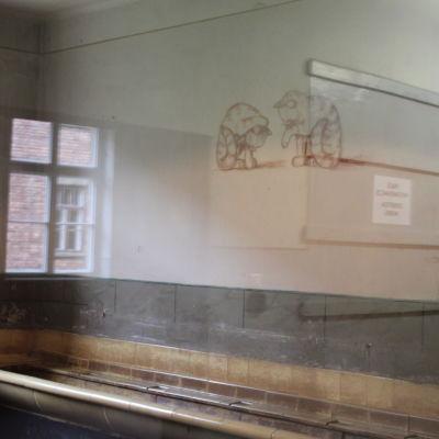 Två kattor som tvättar sig, tekningen finns på en vägg i förintelselägret Auschwitz.