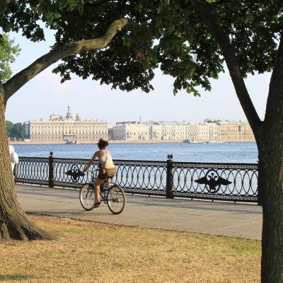 Pyöräilijä puistossa Pietarissa