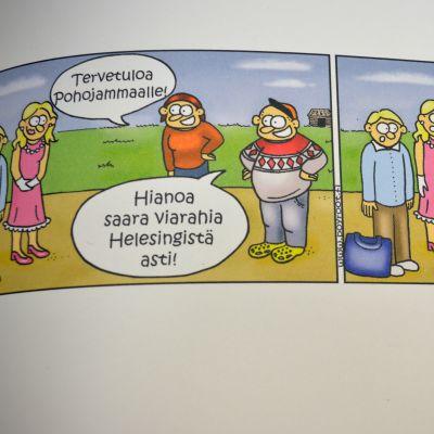 """Pöyrööt-sarjakuvan Jussi Pöyröö ystävineen käyttää ärrää eli pohjalaista """"reetä"""" d-kirjaimen tilalla."""