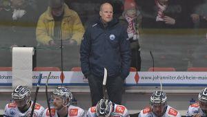 Toni Söderholm bakom bänken i SC Riessersee.
