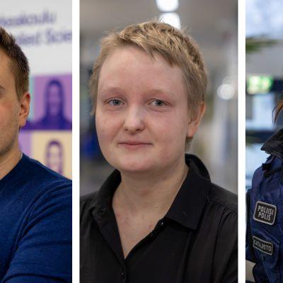 Opiskelijat Juho Ahvenniemi ja Janette Kyllönen ja Alina Katajisto