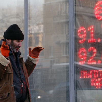 Valutakurser i Moskva den 21 januari 2016.