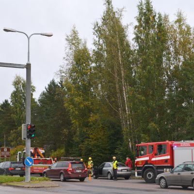 Trafikolycka vid korsningen av Hornhattulavägen och Västra Mannerheimleden i Borgå 22.09.17