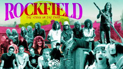 Rockfield-dokumenttielokuvan key image, paljon porukkaa photoshopattuna kuvassa plus otsikko Rockfield The Studio on the Farm