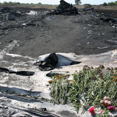 Rester efter flygplanskatastrofen i Ukraina juli 2014.