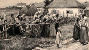 Illustration av koleraprocession i Ryssland