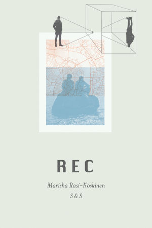 Pärmen till romanen REC av Marisha Rasi-Koskinen.Pärmen är i ljusgrönt med abstrakta figurer och människosilhuetter på.