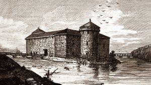 Kajaanin linna vanhassa maalauksessa