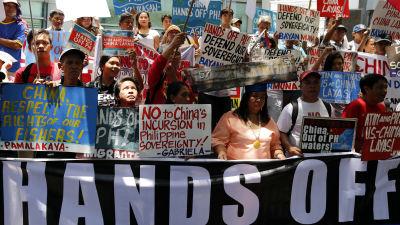 Filippinsk protest mot kina fartyg