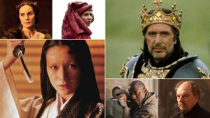 Vasemmalta ylhäältä myötäpäivään: Michelle Dockery, Clémence Poésy, Al Pacino, Alun Armstrong, Patterson Joseph, Mieko Harada
