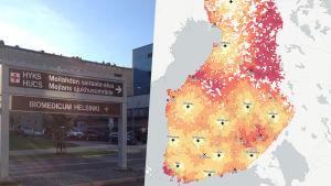 Karta över avståndet till sjukhus med fulljour