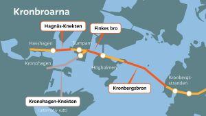 Kronbroarna - plan som Helsingfors stad gjort i december 2015
