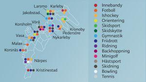 Vilka som idrottsgrenar får stöd i Österbottniska kommuner.