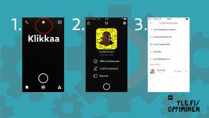 Kuva jossa näytetään miten Snapchatissa etsitään kontakteja