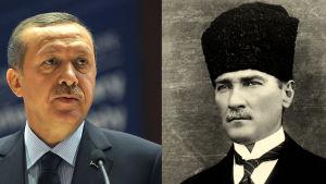 Fotomontage med Turkiets grundare Mustafa Kemal Atatürk och den nuvarande presidenten Recep Tayyip Erdoğan.