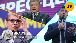 Bildkollage med de tre största presidentvalskandidaterna i Ukraina.