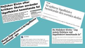 Faksimiler ur Dagens Nyheter, Lärarnas tidning, Borås tidning, Skolvärlden samt från Isak Skogstads twitter om konflikten mellan de som gillar metoden lågaffektivt bemötande och de som inte gör det.
