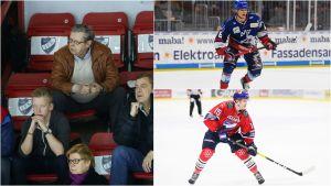Göran Stubb till vänster. Tim Stützle uppe till höger och Anton Lundell nere till höger.