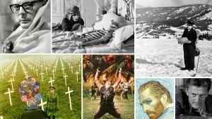 Kollaasi Teeman kesän 2020 elokuvista, vasemmalta ylhäältä myötäpäivään: 8 1/2, Morgan - toivoton tapaus, Kultakuume, Lain vartija, Rakkaudella Vincent, Platoon - nuoret sotilaat, Oi! Mikä ihana sota!