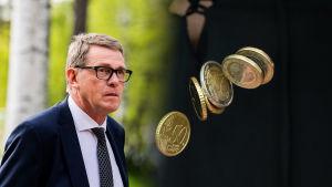 Finansminister Matti vanhanen och mynt
