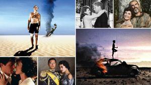 Kollaasi Teeman kevään 2021 elokuvista: vasemmalta ylhäältä myötäpäivään Me sotasankarit, Jään tänne yöksi, Robin ja Marian, Walkabout - erämaan vangit, Viimeinen keisari, Neljät häät ja yhdet hautajaiset