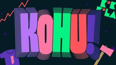 Kuvassa Kohu-teksti, kirves, Kokkola-teksti ja feministi-t-paita.