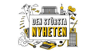 """Grafisk logo med texten """"Den största nyheten"""" samt tecknade symboler som bland annat föreställer skyskrapor, en hockeyklubba, en pansarvagn och en skrivmaskin."""