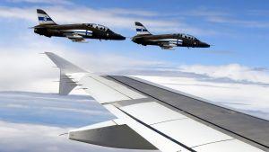 Finska luftvapnets jaktplan eskorterade lejonen hem till Finland.