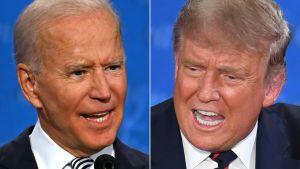 Trump och Biden i bildcollage, båda med vidöppna munnar.