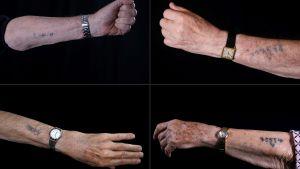 Bildmontaget visar händer med nummeridentifikation från koncentrationslägret Auschwitz.