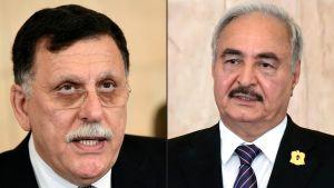 Fayez al-Sarraj (till vänster) och Khalifa Haftar (till höger) möttes inte ansikte mot ansikte i Moskva.