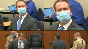 Efter att domen lästs upp sattes det handklovar på Derek Chauvin och han fördes ut ur rättssalen.