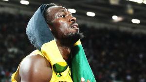 Usain Bolt efter loppet.