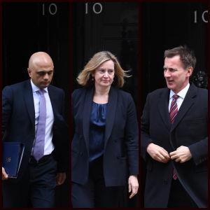 Jeremy Hunt, Sajid Javid och Amber Rudd utanför 10 Downing Street.