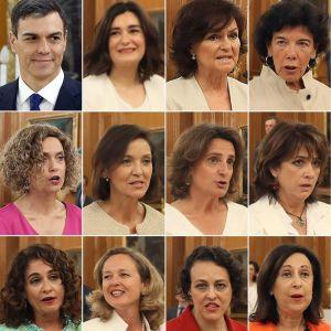 Pedro Sánchez och de elva kvinnorna i Spaniens nya regering