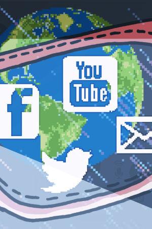 Silmälasit, joiden kautta näkyy verkkopalvelujen logoja. Grafiikka.
