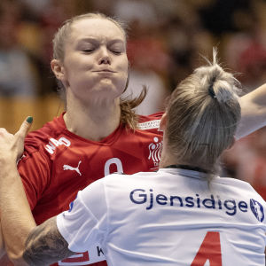 Norge mot Danmark i handboll.