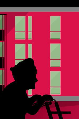 Kuvituskuva kiinteistöosakeyhtiö Säynätsalo Iltatuulen rakennuksista, edustalla vanhaa väkeä.