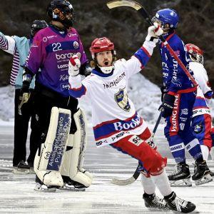 Två HIFK-spelare firar vid Botnias mål.