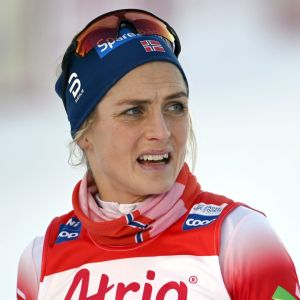 Therese Johaug efter målgång.
