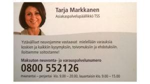 Fiktiivisen Tarja Markkasen käyntikortti