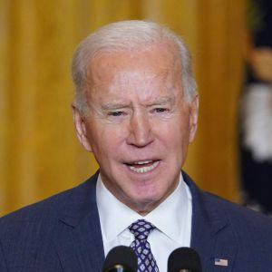 Joe Biden talar under säkerhetskonferensen i München den 19 februari 2021.
