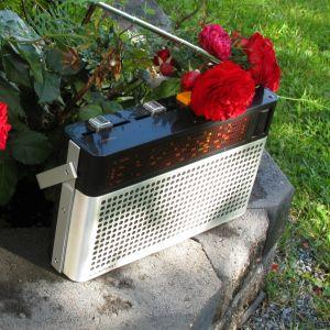 En radioapparat omgiven av blommor